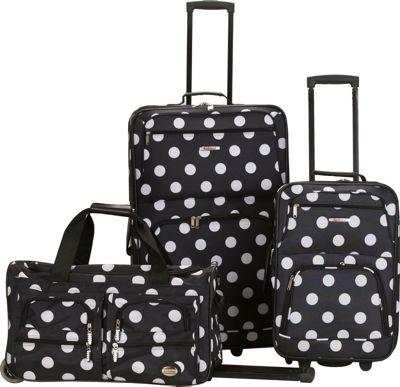 Rockland Luggage Spectra 3-Piece Luggage Set Black Dot - Rockland Luggage Luggage Sets