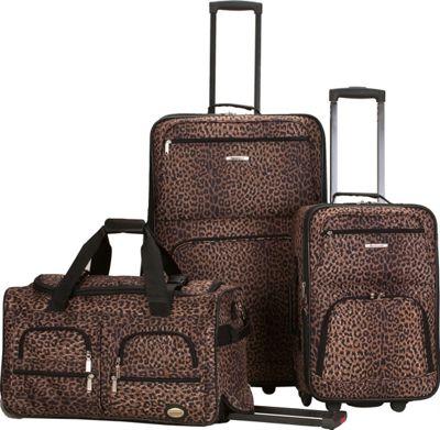 Rockland Luggage Spectra 3-Piece Luggage Set Leopard - Rockland Luggage Luggage Sets