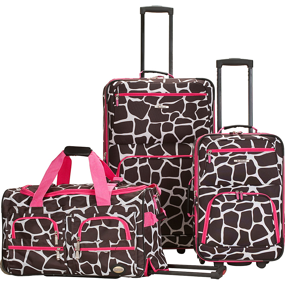 Rockland Luggage Spectra 3-Piece Luggage Set Pink Giraffe - Rockland Luggage Luggage Sets