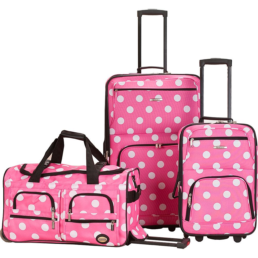 Rockland Luggage Spectra 3-Piece Luggage Set Pink Dot - Rockland Luggage Luggage Sets