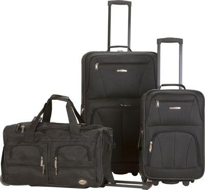 Rockland Luggage Spectra 3-Piece Luggage Set Black - Rockland Luggage Luggage Sets