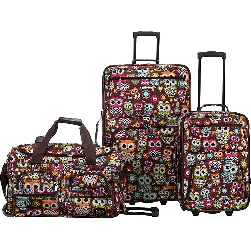 Rockland Luggage Spectra 3-Piece Luggage Set OWL - Rockland Luggage Luggage Sets