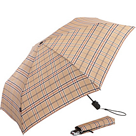Flat Auto Open Duomatic Umbrella - Tan Check Check Tan