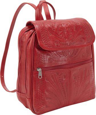 Ropin West Backpack Handbag Red - Ropin West Leather Handbags