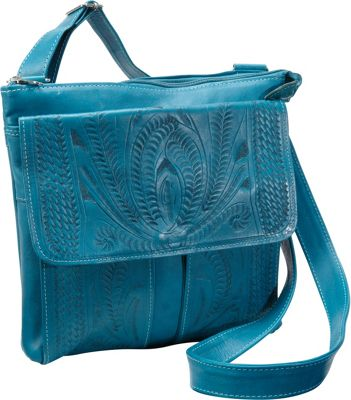 Ropin West Cross Over Bag Turquoise - Ropin West Leather Handbags
