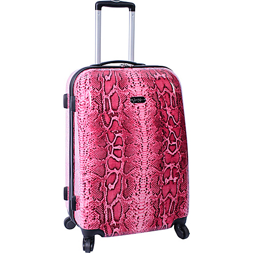"Jessica Simpson Luggage Snake 24"" Twister Hardside Coral - Jessica Simpson Luggage Large Rolling Luggage"