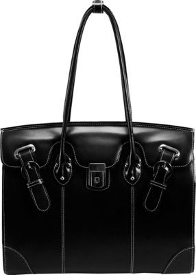 McKlein USA Leclaire Ladies 15.4 inch Leather Laptop Tote Black - McKlein USA Women's Business Bags