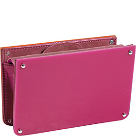 Alexis Resin Clutch Silver-Fuschia/Orange