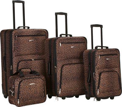 Rockland Luggage Jungle 4-Piece Luggage Set Leopard - Rockland Luggage Luggage Sets