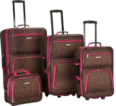 Rockland Luggage Jungle 4-Piece Luggage Set Pink Leopard - Rockland Luggage Luggage Sets