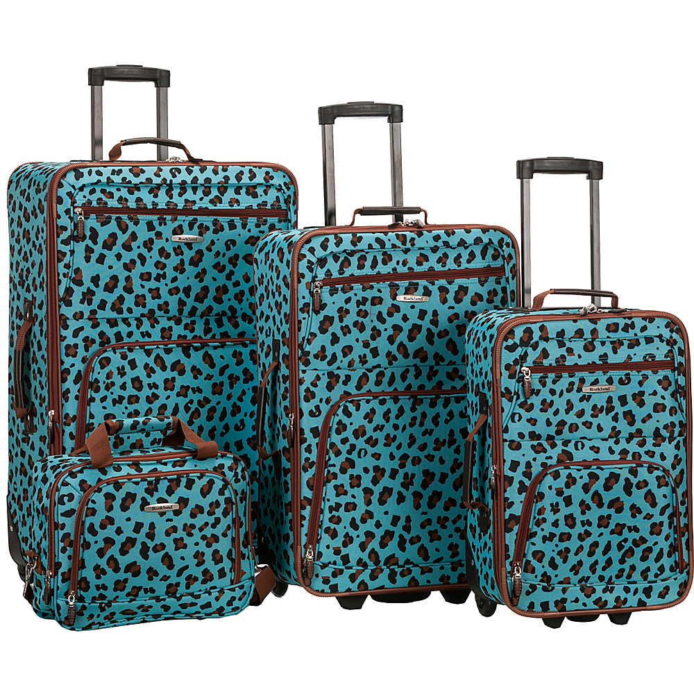 Rockland Luggage Safari 4 Piece Luggage Set BLUE LEOPARD Rockland Luggage Luggage Sets