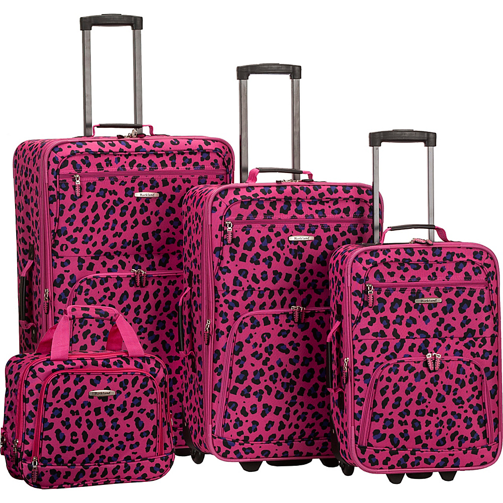 Rockland Luggage Safari 4 Piece Luggage Set MAGENTA LEOPARD Rockland Luggage Luggage Sets