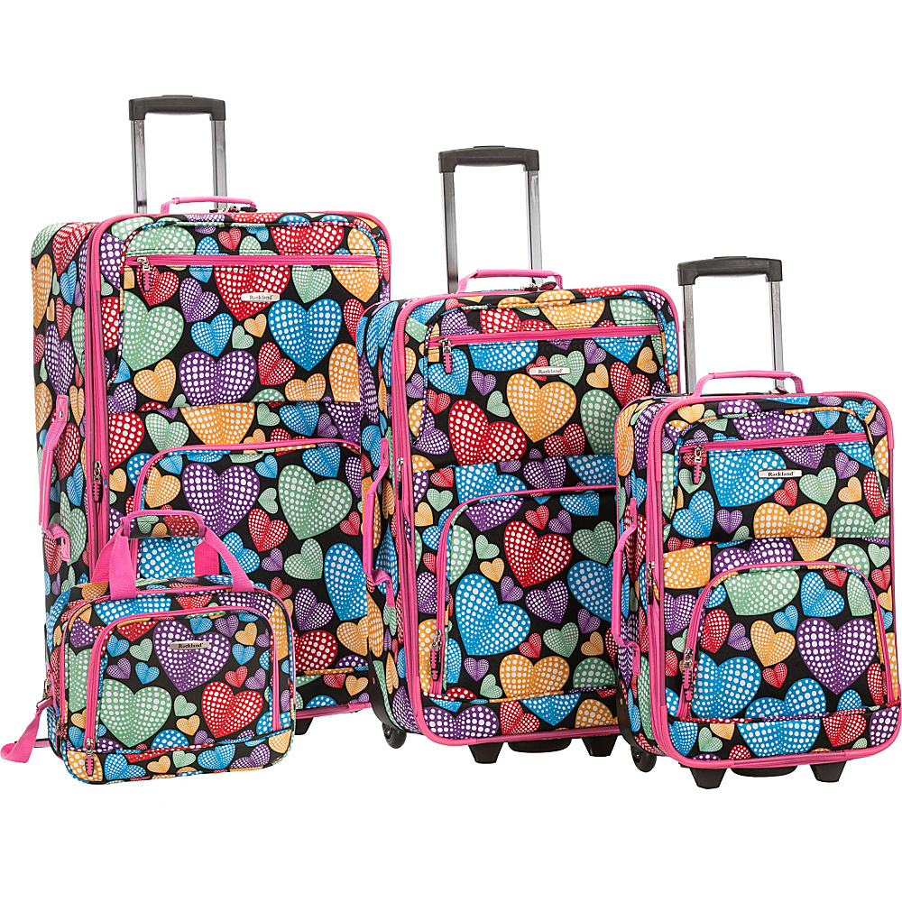 Rockland Luggage Jungle 4-Piece Luggage Set Newheart - Rockland Luggage Luggage Sets