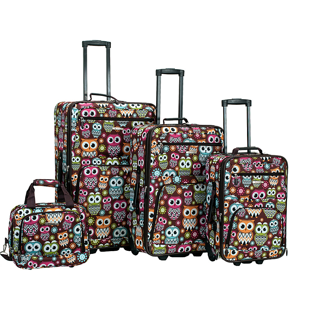 Rockland Luggage Jungle 4-Piece Luggage Set OWL - Rockland Luggage Luggage Sets