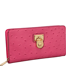 Hamilton 18K Zip Around Continental Wallet-Ostrich Zinnia