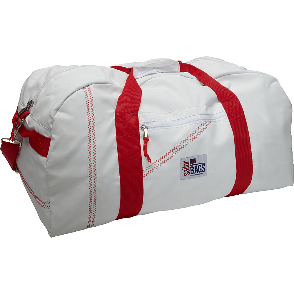 SailorBags Sailcloth XLarge Square Duffel White with Red Straps SailorBags Travel Duffels