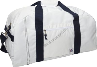 SailorBags Sailcloth XLarge Square Duffel White with Blue Straps - SailorBags Travel Duffels