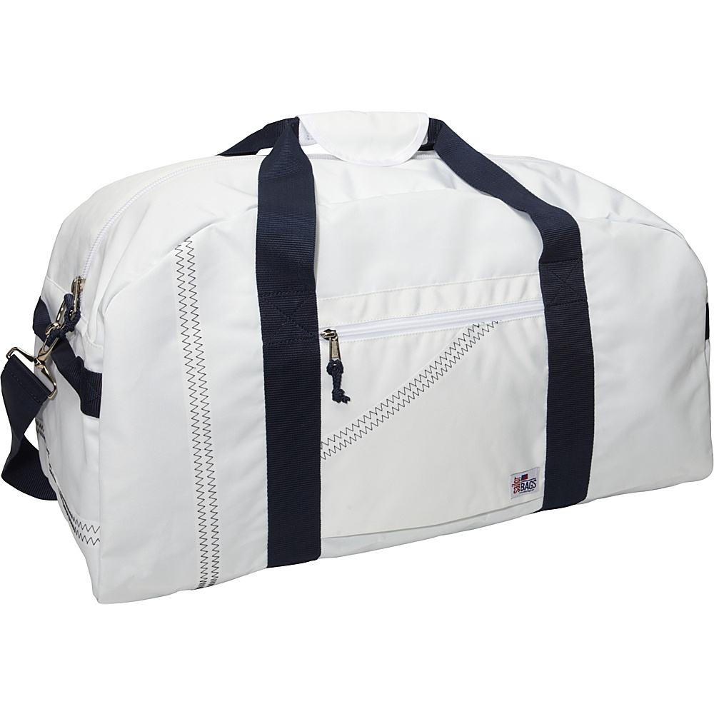 SailorBags Sailcloth XLarge Square Duffel White with Blue Straps SailorBags Travel Duffels