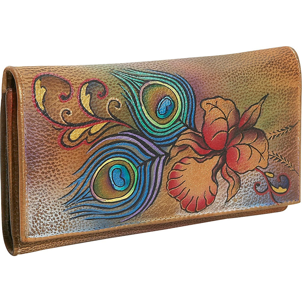 Anuschka Checkbook Wallet - Premium Peacock Flower