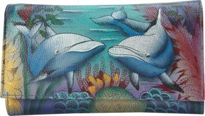 Image of Anuschka Check Book Wallet/Clutch Dolphin World - Anuschka Women's Wallets