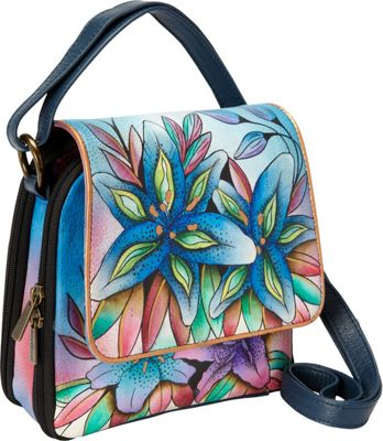 Anuschka Triple Compartment Crossbody Organizer Luscious Lilies Denim - Anuschka Leather Handbags