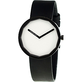 Twelve 38mm Watch White Dial; Leather Black Band; Black Bezel; Clear