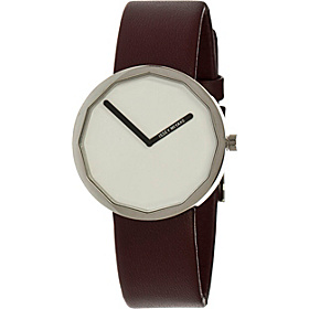 Twelve 38mm Watch White Dial; Leather Maroon Band; Silver Bezel; Cle