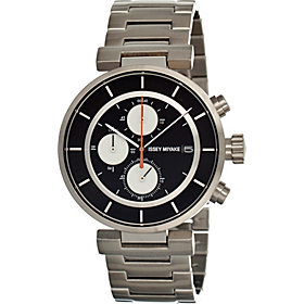 W Mens Watch Black Dial; Metal Silver Band