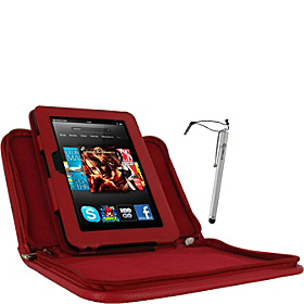 "Executive Leather Case w/ Stylus for Kindle Fire HD 7"" Red"