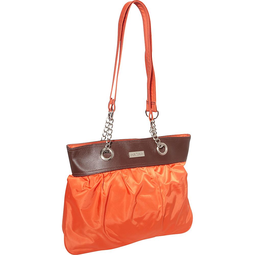 Hadaki Nylon Brickabrack Tote Pod Orange/Chocolate - Hadaki Fabric Handbags - Handbags, Fabric Handbags