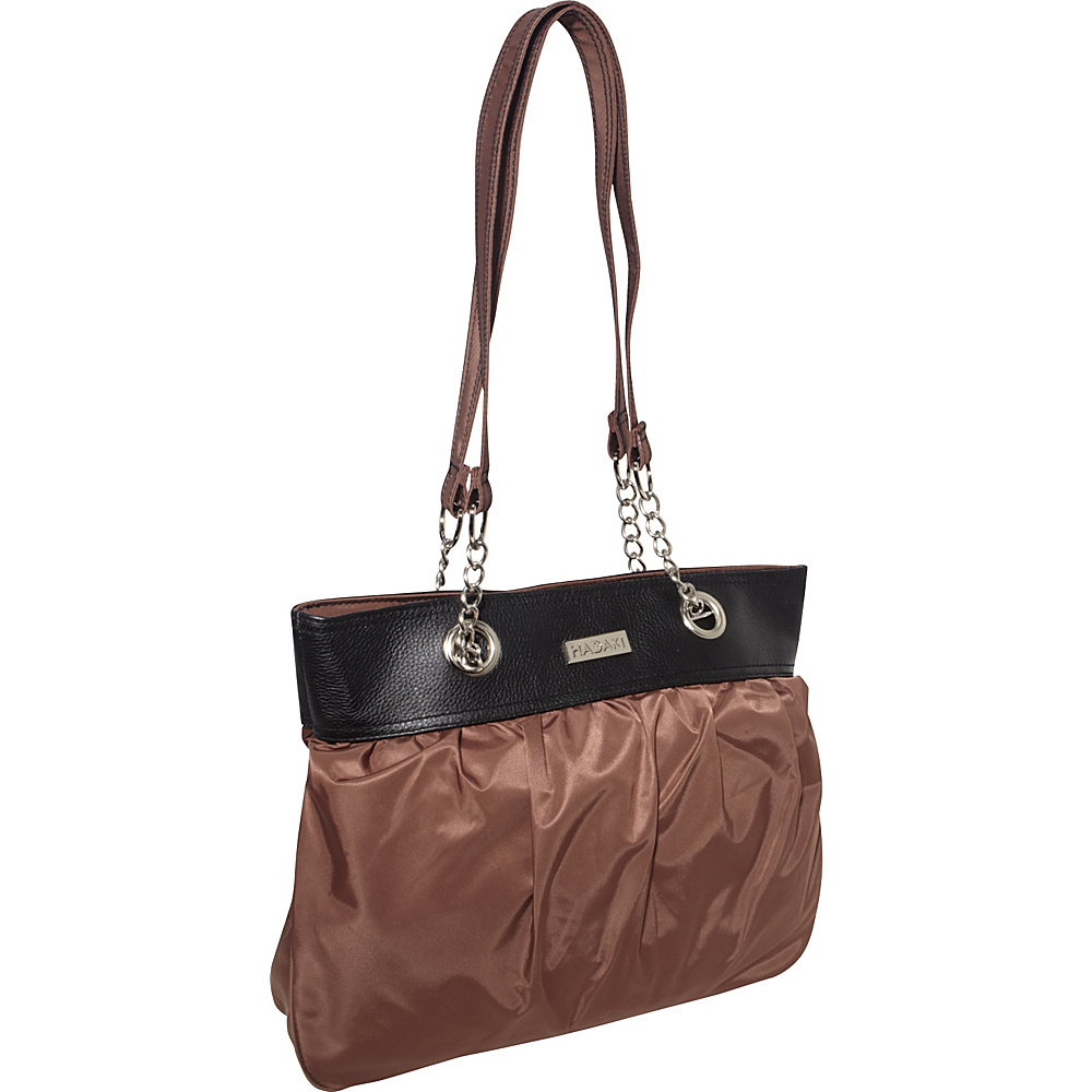 Hadaki Nylon Brickabrack Tote Pod Chocolate/Black - Hadaki Fabric Handbags