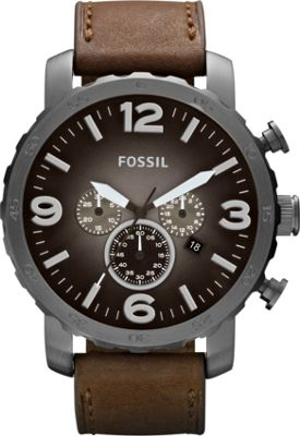 Fossil Nate Leather Watch Brown with Smoke - Fossil Watches