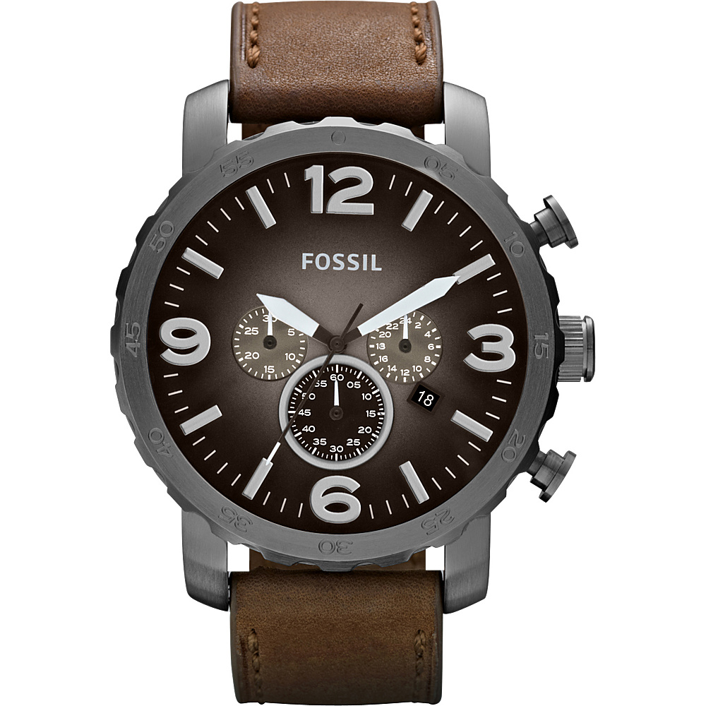 Fossil Nate Leather Watch Brown With Smoke Fossil Watches
