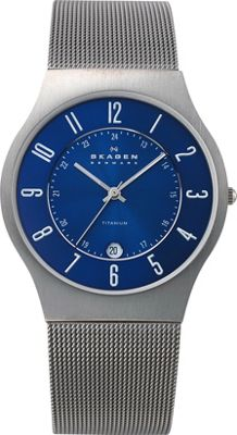 Skagen Titanium Blue Dial Watch Gunmetal/Blue - Skagen Watches