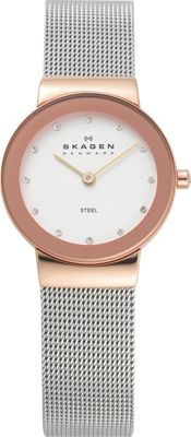 Skagen Rose Gold Tone Steel Watch Silver with Rose Gold - Skagen Watches