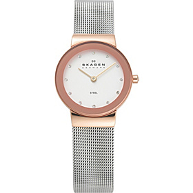 Rose Gold Tone Steel Watch Silver with Rose Gold