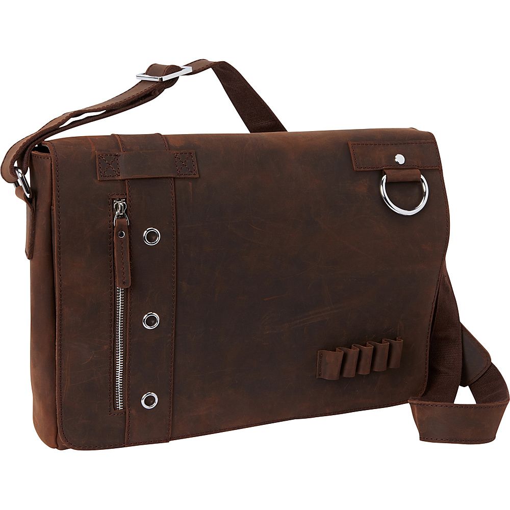 Vagabond Traveler 16 Leather Messenger Bag - Asymmetrical Design Dark Brown - Vagabond Traveler Messenger Bags - Work Bags & Briefcases, Messenger Bags