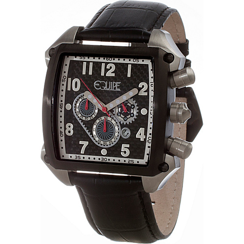 Equipe Bumper Mens Watch Black Dial; Leather Black Band; Black Bezel; Silve - Equipe Watches
