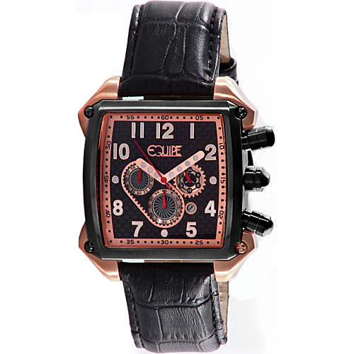 Equipe Bumper Mens Watch Black Dial; Leather Black Band; Black Bezel; White - Equipe Watches