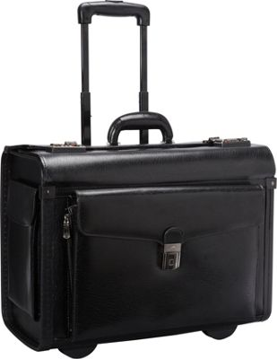 Mancini Leather Goods Deluxe Wheeled 17 inch Laptop Catalog Case Black - Mancini Leather Goods Wheeled Business Cases