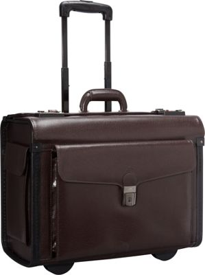 Mancini Leather Goods Deluxe Wheeled 17 inch Laptop Catalog Case Burgundy - Mancini Leather Goods Wheeled Business Cases