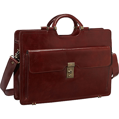Mancini Leather Goods Classic Briefcase in Luxurious Italian Leather Brown - Mancini Leather Goods Non-Wheeled Business Cases