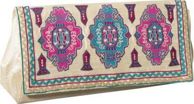 Moyna Handbags Purse w/ Moroccan Print Ivory/Turquoise - Moyna Handbags Fabric Handbags