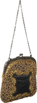 Moyna Handbags Mini Purse w/ Mixed Metal Beads Black/Gold - Moyna Handbags Evening Bags