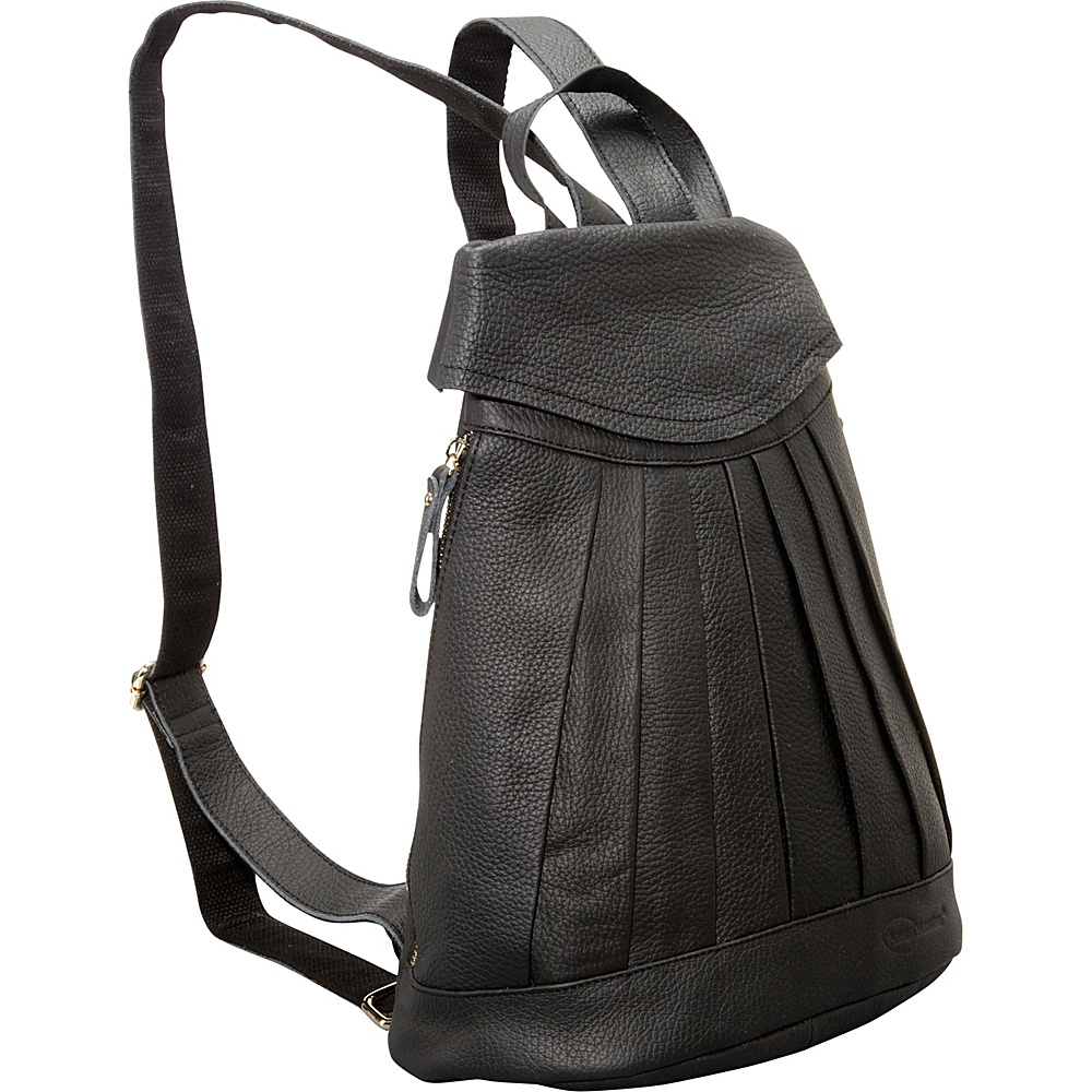 AmeriLeather Pleated Mini-Backpack Black - AmeriLeather Leather Handbags