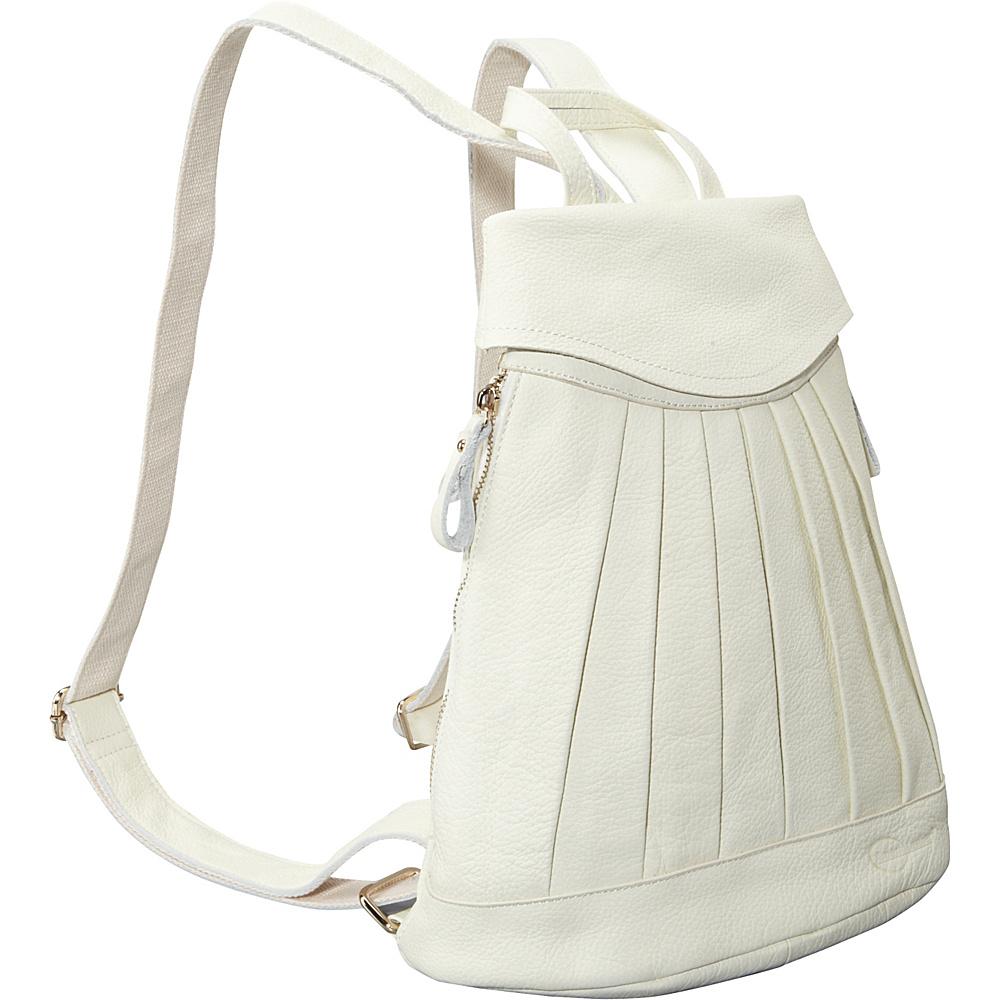 AmeriLeather Pleated Mini-Backpack Off White - AmeriLeather Leather Handbags - Handbags, Leather Handbags