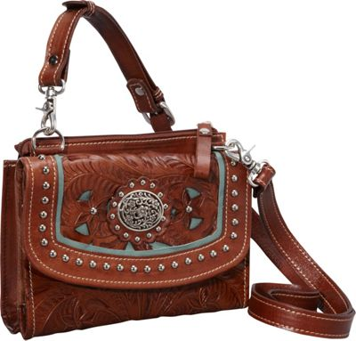 American West Texas Two Step Collection in Lady Lace Antique Brown w/ turq accents - American West Leather Handbags