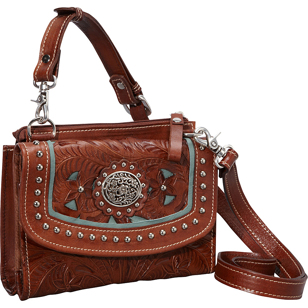 American West Texas Two Step Collection in Lady Lace Antique Brown w turq accents American West Leather Handbags