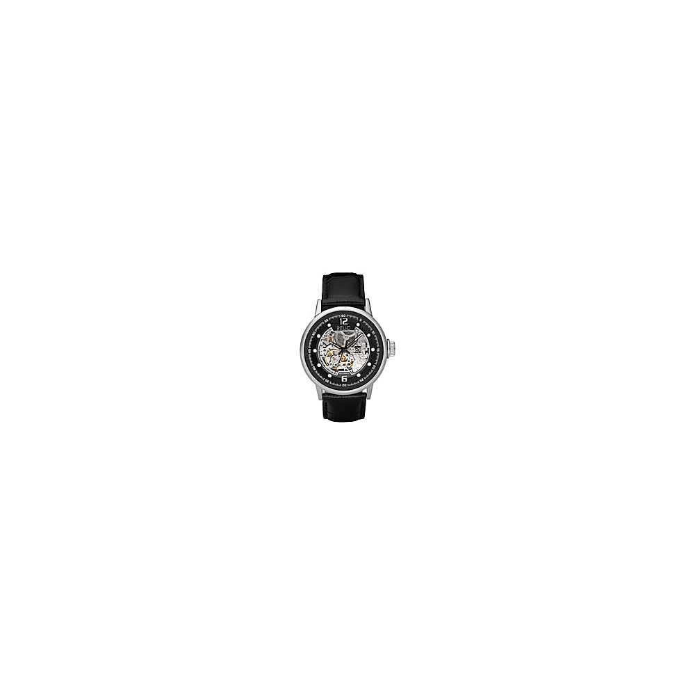 Relic Men s Automatic Black Leather Strap Watch Black Croco Relic Watches