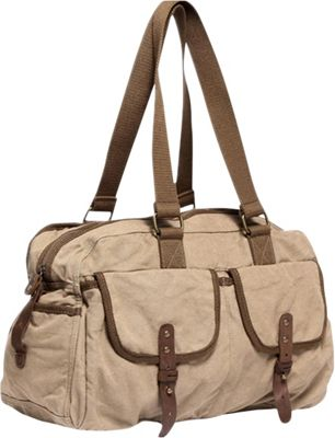 Vagabond Traveler Medium Travel Canvas Bag Khaki - Vagabond Traveler Travel Duffels